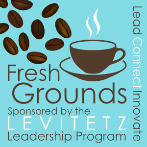 Coffee beans and cup graphic for Levitetz Leadership Program Fresh grounds Coffee hour